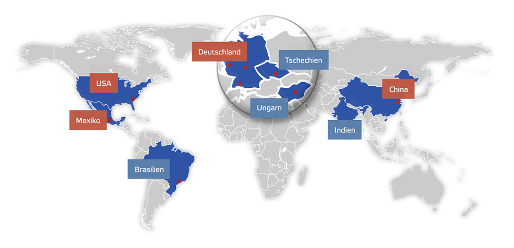 IFSYS locations in Germany, USA, Mexico and China
